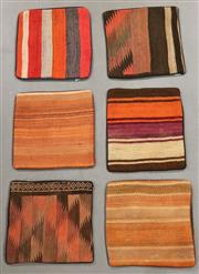 Sale 8438K - Lot 98 - Six Tribal Kilim Cushion Covers | 40x40cm, Pure Wool, Cotton Backing, Unique Afghan kilim cushion, Made from vintage kilims, many ov...