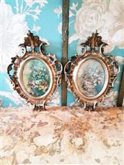 Sale 8500A - Lot 42 - A pair of decorative vintage florentine gilded floral wall plaques - Condition: Very Good - Measurements: 22cm high x 15cm wide