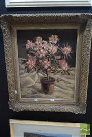 Sale 8530 - Lot 2015 - Original Oil Painting by John Mills Still Life with Potted Flower