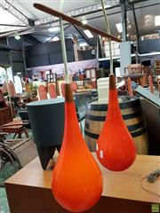 Sale 8566 - Lot 1096A - Vintage Twin Shade Orange Glass Hanging Light Fitting