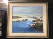 Sale 8720 - Lot 2058 - Lee Miller - River Scene oil on board, 54 x 62.5cm, signed lower right