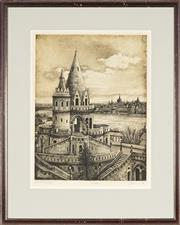 Sale 8789 - Lot 2048 - Artist Unknown - Fishermans Bastion, Budapest 42 x 34.5cm