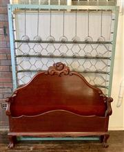 Sale 8804A - Lot 182 - A wooden (mahogany?) double bed frame with metal spring base, measuring 137 x 188cm