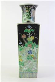 Sale 8818 - Lot 284 - Chinese famille Noir Kangxi Marked Porcelain Vase, with Cylindrical Neck and Flared Rim, Decorated with Prunus Branch, Lotus and Peo...