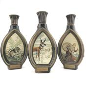 Sale 8911W - Lot 871 - 3x Jim Beam 8YO Kentucky Straight Bourbon Whiskey - James Lockhart decanter set of 3 (sportsmen)
