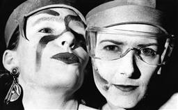 Sale 8912A - Lot 5038 - Lilly and Cheryl show off their makeup, Sydney Gay and Lesbian Mardi Gras Parade (1992), 29 x 18 cm, silver gelatin, Photographer: B...