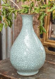 Sale 9060H - Lot 21 - An oriental crackle glaze vase in duck egg blue. Height 38cm