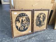Sale 9087 - Lot 2077 - A pair of retro fairy tale, stencil cutouts, frame: 31 x 26 cm each,