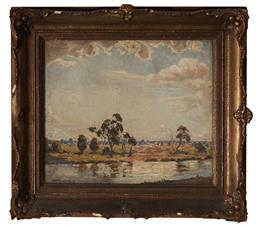 Sale 9127 - Lot 2015 - Howard Barron (1900 - 1991) Country Landscape with River , c1930s oil on canvas laid on board 29.5 x 34.5 cm (frame: 43 x 48 x 4 cm...