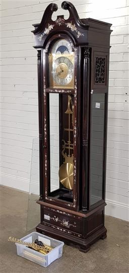 Sale 9191 - Lot 1060 - Chinese rosewood longcase clock with mother of pearl inlay (h:220 x w:60 x d:38cm)