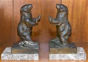 Sale 8313A - Lot 84 - A pair of bronzed and marble bookends in bear form, height 15cm