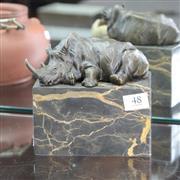 Sale 8362 - Lot 48 - Bronze Replica of a Sleeping Rhino