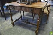 Sale 8390 - Lot 1071 - Antique French Oak Side Table with single drawer on turned legs with stretcher base.