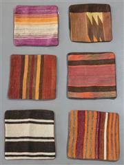 Sale 8438K - Lot 99 - Six Tribal Kilim Cushion Covers | 40x40cm, Pure Wool, Cotton Backing, Unique Afghan kilim cushion, Made from vintage kilims, many ov...