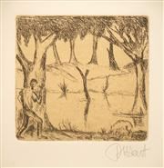 Sale 8642A - Lot 5024 - Kevin Charles (Pro) Hart (1928 - 2006) - Up came a jumbuck to drink at the waterhold... 12.5 x 14.5cm (frame: 62.5 x 52.5cm)