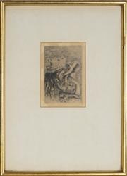 Sale 8914 - Lot 2003 - After Pierre Auguste Renoir (1841-1919) Berthe Morisot daughter and her cousin, etching, 11.5 x 8cm, signed in plate -