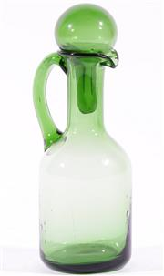 Sale 9003G - Lot 670 - Vintage American Forest Green Oil Decanter, Probably Blenko Glass (H18cm)