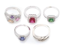 Sale 9107J - Lot 337 - FIVE SILVER STONE SET RINGS; all set with zirconias and coloured crystals, sizes K, M and O1/2, total wt. 19.06g.