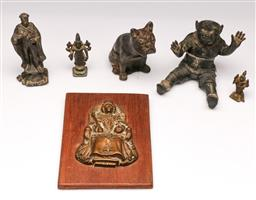 Sale 9107 - Lot 97 - A Group of Cast Metal Figures inc Inkwell and Plaque
