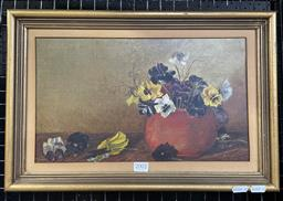 Sale 9113 - Lot 2017 - Artist Unknown Floral Arrangement in Red Pot, oil on canvas, frame: 31 x 46 cm, unsigned