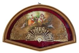 Sale 9190H - Lot 35 - A vintage fan with ivory handle, handpainted with bucolic scene, indistinctly signed, in gilt box frame, Width 62cm x Height 40cm
