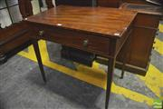 Sale 8390 - Lot 1063 - George III Mahogany Side Table with cross banded top single drawer on tapering legs (H 73 x W 79 x D 53cm)