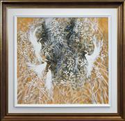 Sale 8411A - Lot 5051 - Richard Bogusz (1947 - ) - Brolgas 70 x 75.5cm