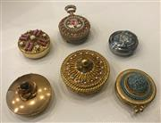 Sale 8436A - Lot 77 - A group of six mainly gold tone circular pill boxes set with faux stones including Mirelle and Florenza.