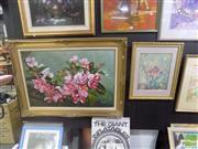 Sale 8483 - Lot 2021 - W. Adolf - Still Life, oil on canvas, 60 x 90cm, signed lower right & a Framed Decorative Floral Still Life Print (2)