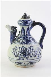 Sale 8818 - Lot 278 - Chinese Blue and White Yuan Style Covered Teapots, Ribbed Body Decorated with Flowers and Phoenix, H 23cm