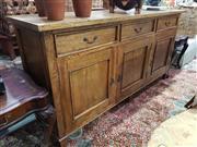 Sale 8826 - Lot 1041 - Rustic 3 Drawer 3 Door Sideboard (H: 92 W: 181 D: 50.5cm)