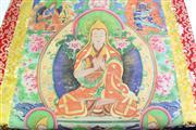 Sale 8869C - Lot 620 - Tibetan polychrome Thanka of Buddhas (H91cm W115cm)