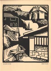 Sale 9047 - Lot 561 - Dorrit Black (1891 - 1951) - Hill Side Houses (for Chapbook No. 2 (Adelaide SA) Poems Stories Linocut, 1936) 20 x 16 cm