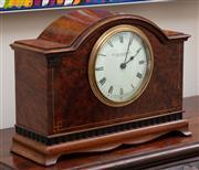 Sale 9066H - Lot 58 - A William Drummond & Co of Melbourne walnut mantle clock of diminutive size. H 17cm W 22