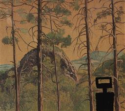Sale 9111 - Lot 2018 - Artist Unknown Kelly silhouette amongst Australian bush landscape oil on card, 58 x 62cm -