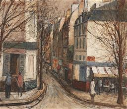 Sale 9195 - Lot 581 - GEORGE FEATHER LAWRENCE (1901 - 1981) Narrow Street, Paris oil on board 57.5 x 66.5 cm (frame: 74 x 84 x 4 cm) signed lower right