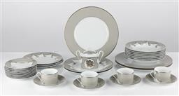 Sale 9255H - Lot 30 - Christian Lacroix Follemant dinnerwares in grey with gilt highlights;