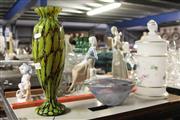 Sale 8340 - Lot 34 - German Glass Lidded Canister, Scandinavian Signed Bowl & an Art Glass Vase