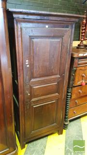 Sale 8402 - Lot 1066 - Antique Style Possibly Chestnut Armoire, with single door enclosing shelves (Key in Office)