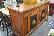 Sale 8418 - Lot 1066 - Large French Style Sideboard w 2 Doors, $ Drawers & Parquetry Top