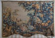 Sale 8435A - Lot 78 - A C18th replica tapestry after Robert Four, Aubusson made by hand, wool, 130 x 187cm