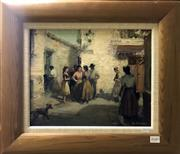 Sale 8563T - Lot 2040 - Raymond Wenban - Spanish Town Scene, oil on board, 29 x 36cm, signed lower right