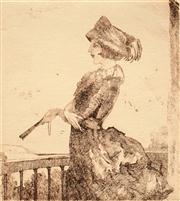 Sale 8592A - Lot 5078 - Adrian Feint (1894 - 1971) - The Balcony 11 x 10cm; 44.5 x 34.5cm (sheet size)