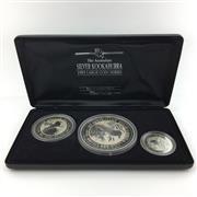 Sale 8618 - Lot 43 - The Australian Silver Kookaburra 1993 Large Coin Series in box. Perth Mint, 1kg, 10oz, & 2oz coins