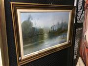 Sale 8720 - Lot 2063 - Ken Taber  Swamp Birds 1981 oil on board m 39 x 59.5cm, signed lower left