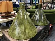 Sale 8805 - Lot 1030 - Pair of Glazed Ceramic Hanging Light Fittings