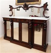 Sale 8908H - Lot 33 - A continental rosewood mirror backed sideboard with shaped marble top and four mirror panelled doors opening to reveal shelved inter...