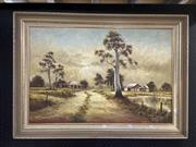 Sale 8888 - Lot 2027 - John Pinto - Landscape with Homestead, oil, SLR, 60x91cm