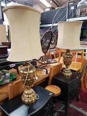 Sale 8934 - Lot 1097 - Pair of Large Gilt Table Lamps