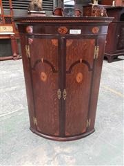 Sale 9031 - Lot 1006 - George III Oak & Mahogany Banded Wall Hanging Corner Cabinet, with two bowed marquetry doors with inlaid arcades & paterae - key in...